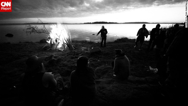 "In Finland the midsummer celebrations are called 'Juhannus'. ""Lots of people- friends and family- gather together somewhere near water and set up a huge bonfire called ""Kokko"" and usually drink lots of alcohol and go to the sauna. That's just somehow the Finnish thing,"" says 24-year-old <a href='http://www.meom.fi/' target='_blank'>Tom Rantala</a> who took this photo during midsummer celebrations in 2011."