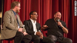 Professor Michael Chaney, left, talks with director Geoffrey Fletcher, center, and James Gandolfini.