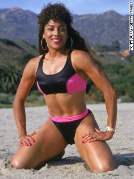 Olympic runner Florence Griffith Joyner was known for her flashy running outfits, which reflected the sporty influence on bathing suit fashion of the late 1980s.