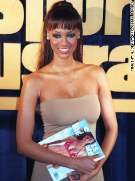 In the 1990s, fashion models shot to fame by landing the cover spot of the 'Sports Illustrated' swimsuit issue. Tyra Banks was the first African-American model to grace the cover, and did so consecutively in 1996 and 1997. Her fellow cover models include Kathy Ireland, Vendela Kirsebom, Heidi Klum, Rebecca Romijn and Rachel Hunter.