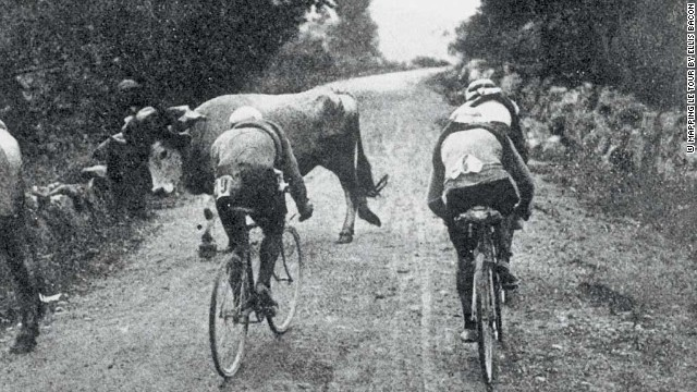 Riders tackle the first Pyrenean climb -- the Col de Portet d'Aspet -- in 1910. France's Octave Lapize was first over the top and won the race. But in 1995 the Col was the scene of tragedy as Italian Fabio Casartelli died after a crash on the descent.