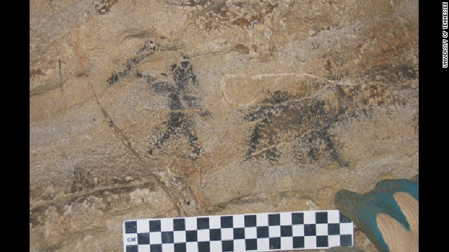 This cave painting found in eastern Tennessee, depicting a hunter with a four-legged animal, is more than 6,000 years old -- the oldest yet known in North America.