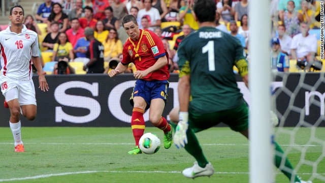 Fernando Torres grabbed four goals in Spain's victory, but the biggest cheer of the night came when he missed a second half penalty.
