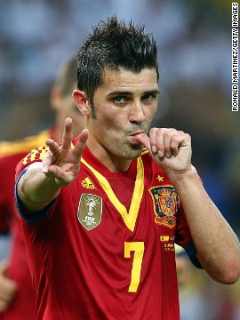 David Villa registered a hat-trick as Spain cut through Tahiti's rearguard time and time again.