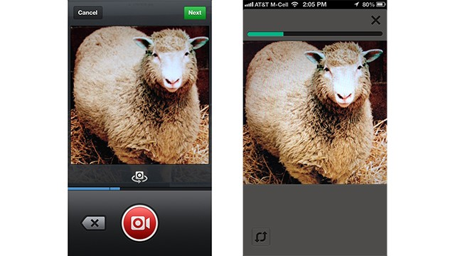 The new Instagram video feature, on the left, and Twitter's Vine app.