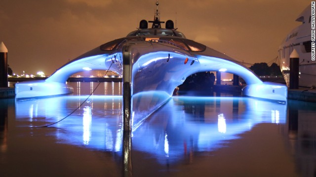 The high-tech boat features three prongs -- a slimline hull and two 'wings,' allowing it to glide over the water with ease. The remarkable design creates less drag -- and less fuel consumption.