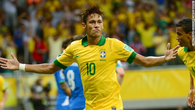 Neymar celebrates his superb free kick goal against Italy in the Confederations Cup in Salvador