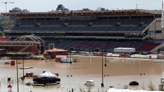 The flooded grounds of the Calgary Stampede are seen in Calgary, Alberta, on June 22. Much of the city is still submerged from Friday's flooding, which was the heaviest flooding the city had seen in decades and took at least three lives. In another city in Alberta, Medicine Hat, thousands of people were evacuated in anticipation of water from the South Saskatchewan River moving into the city Sunday.
