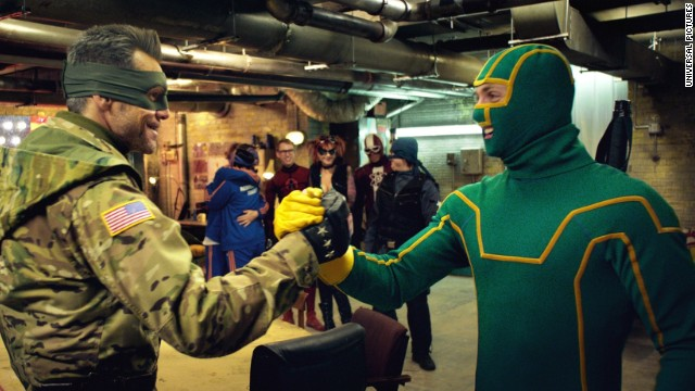 Jim Carrey, left, as Colonel Stars and Stripes and Aaron Taylor-Johnson as Kick-Ass in