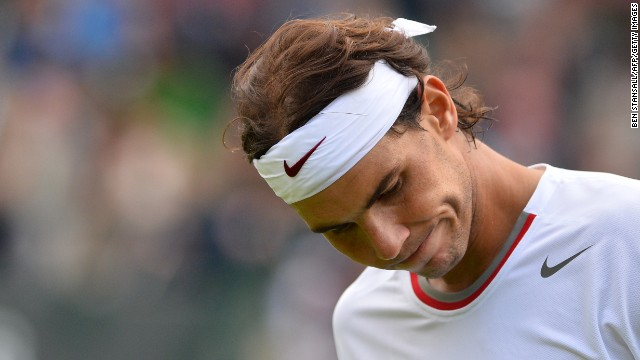 In an opening-round upset, Spain's Rafael Nadal lost to Belgium's Steve Darcis 7-6 (7-4), 7-6 (10-8), 6-4 on June 24. It marks the first time Nadal has been eliminated in the first round of a Grand Slam event. He was eliminated in the second round of Wimbledon last year.