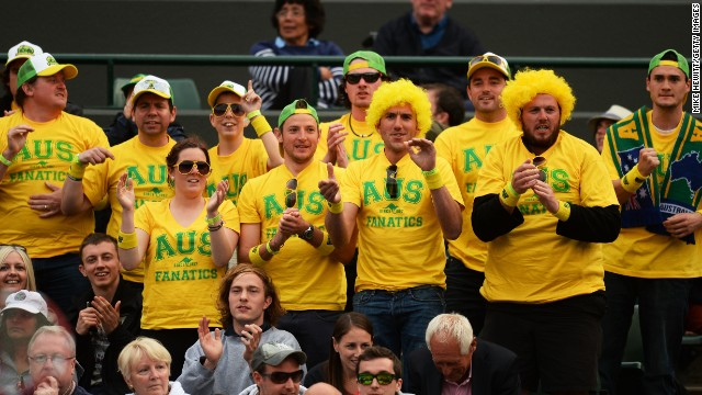 Australian fans cheer for Hewitt during his day one match against Wawrinka of Switzerland.