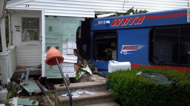 A public bus crashed into a central Massachusetts home on Monday.