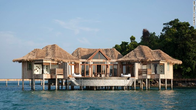 Song Saa is actually two islands, Koh Ouen and Koh Bong, joined by a bridge. Just 35 minutes by boat from the port of Sihanoukville, its 27 villas resemble a chic Cambodian fishing village.