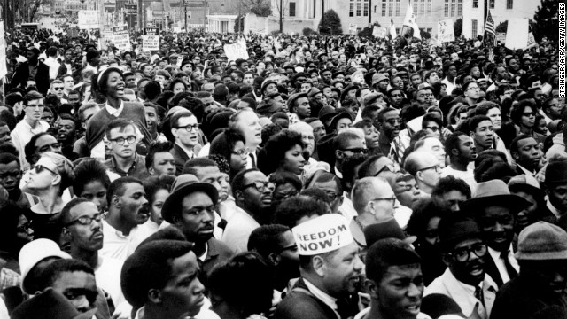 "Marchers during the 1965 voting rights campaign in Selma, Alabama gather for a rally on March 26, 1965, a few weeks after ""Bloody Sunday."" Black residents were beaten, fired from their jobs and imprisoned trying to vote."