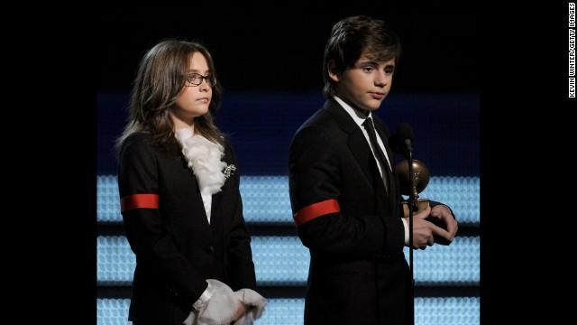 Paris and Prince dressed as Michael to accept his Lifetime Achievement award at the Grammys in 2010.
