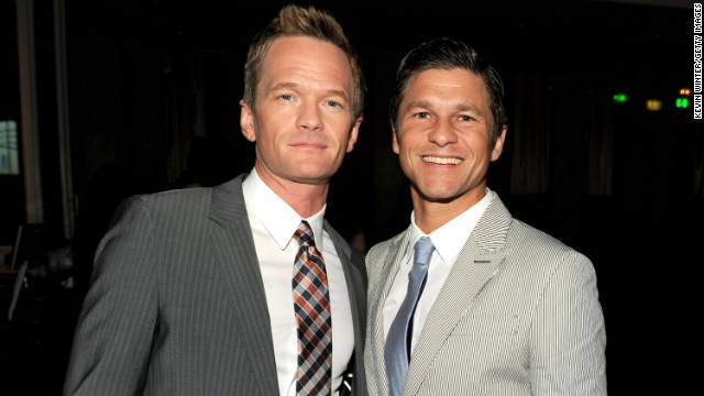 """""""How I Met Your Mother"""" star Neil Patrick Harris, left, and David Burtka announced their engagement in 2011. The couple, who are parents of twins Gideon Scott and Harper Grace, married in Italy in September."""