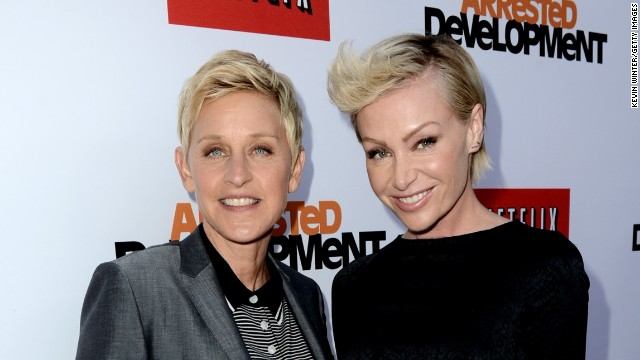"Talk show host Ellen DeGeneres, left, and actress Portia de Rossi married in 2008. De Rossi was granted the right to change her last name to ""DeGeneres"" by a Los Angeles court in 2010."