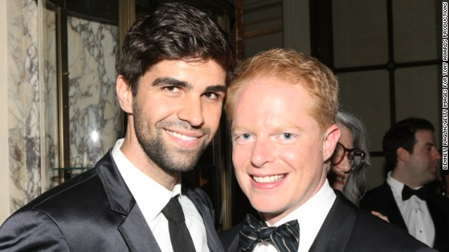 "Attorney Justin Mikita, left, and ""Modern Family"" star Jesse Tyler Ferguson announced their engagement in 2012 via their website tietheknot.org, and then married in July 2013. Their foundation sells ties with the proceeds going to organizations that support same-sex marriage. The pair have been outspoken about their advocacy."