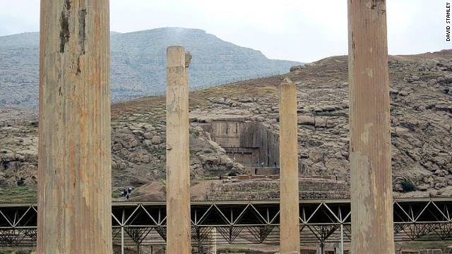 The rock tomb of Artaxerxes II (435-358 BC) as seen from the central hall of the Apadana Palace at Persepolis, Iran.