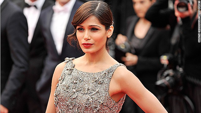 Freida Pinto at a premiere during Cannes Film Festival, May 2013