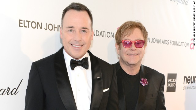 David Furnish, left, and Sir Elton John married in 2005. The pair recently welcomed their second son.