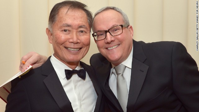 "Several of George Takei's ""Star Trek"" co-stars attended the ceremony when he married longtime partner Brad Altman, right, in 2008."