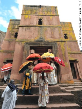 The Church of St. George is perhaps the most famous of Lalibela's 11 churches. Builders would have had to have started carving at the top working their way down.