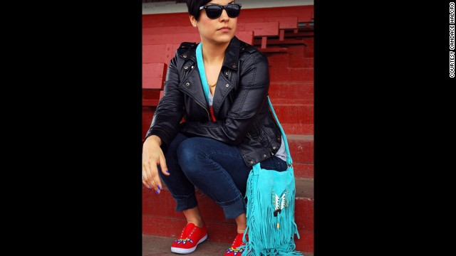 Candace Halcro is an accessories designer from the Plains Cree/Metis tribe. She is skilled in Native American beading and <a href='http://www.etsy.com/people/brownbeadedcom' target='_blank'>specializes in sunglasses</a>. Halcro will be applying her beading craft to Paul Frank sunglasses for the collection. She's seen here wearing beaded shoes, a purse and sunglasses that she created.