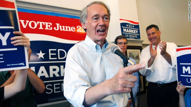Democratic Rep. Ed Markey campaigns recently at Cafe on the Common in Waltham, Massachusetts.