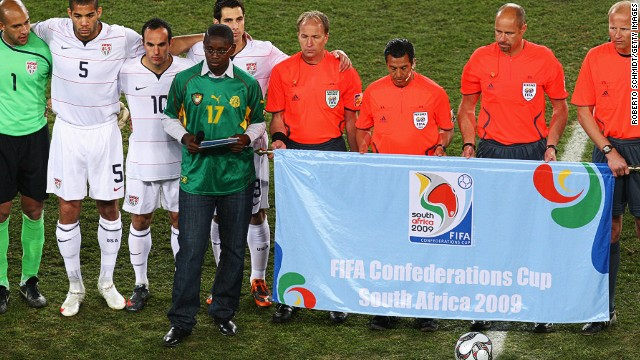 Marc-Vivien's son Marc Scott reads a speech during a homage to his late father prior to the 2009 Confederations Cup final in South Africa.