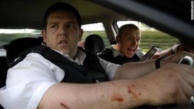 "After tackling zombie movies with ""Shaun of the Dead,"" it only made sense that actors Simon Pegg, left, and Nick Frost would parody the buddy cop genre, along with ""Dead"" director Edgar Wright. The trio will reunite in this summer's ""The World's End."""