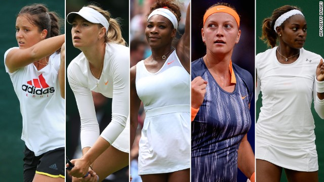 (L-R) Laura Robson, Maris Sharapova, Serena Williams, Petra Kvitova and Sloane Stpehens will all be battling to secure a win at Wimbledon 2013.