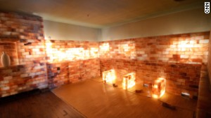 The salt room is made of bricks of salt.