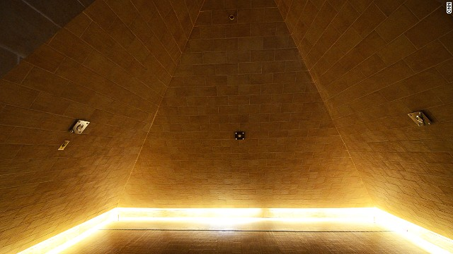 "The walls of the pyramid room are set at a 52-degree angle, ""which has been said to be the easiest angle to collect energies from the universe,"" according to the spa."