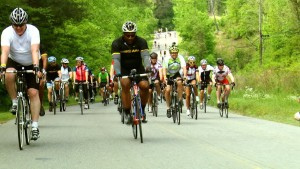 Bo Jackson, center, leads a group of cyclists across Alabama to raise money for tornado victims.