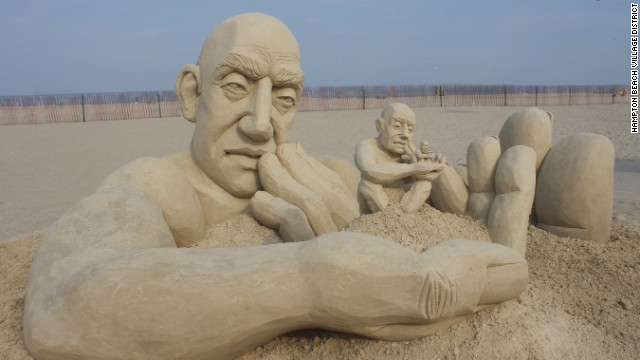 "The 2013 <a href='http://www.hamptonbeach.org/sandcastle-competition.cfm' target='_blank'>Master Sand Sculpting Competition</a> in Hampton Beach, New Hampshire, crowned Carl Jara from Lyndhurst, Ohio, with 1st place for his sculpture ""Infinity."" The sculpture depicts a man holding smaller versions of himself in his hand."