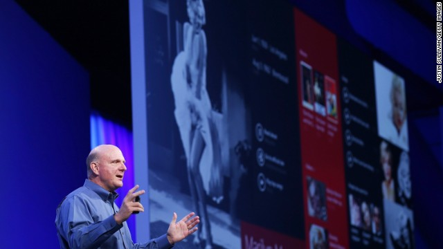Microsoft CEO Steve Ballmer speaks Wednesday during the keynote address during the Microsoft Build Conference in San Francisco.