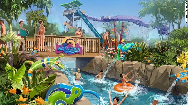 Aquatica revels in its animal habitats. The lazy river snakes through a flamingo enclosure and the wave pool borders a freshwater turtle habitat.<!-- --> </br><strong>Opened</strong>: June 2013.