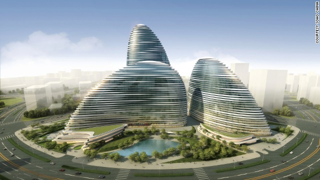 SOHO Peaks, currently under construction and due to open in 2014, is a second building by the architect Zaha Hadid, midway between Beijing city and airport.