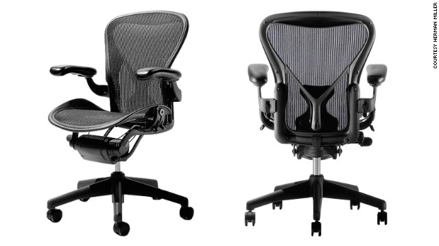 "George McCain, chairman of the Industrial Designers Society of America (IDSA) opted for the Aeron Chair. The design classic by Herman Miller ""has become ubiquitous in all 'hip' offices,"" says McCain. ""It instigated a sea change in office seating away from heavy, uncomfortable, ergonomically challenged and environmentally unfriendly chairs."""