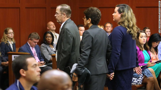 Robert and Gladys Zimmerman, along with George Zimmerman's now ex-wife Shellie, leave court on June 24, 2013.