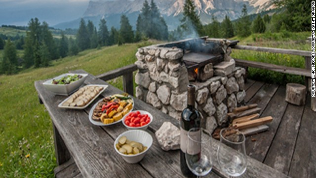Hikes or overnight trips in mountain huts located in the northern corner of Italy wouldn't be the same without regional foods, including speck (smoked ham) and cajinci (ravioli with ricotta and spinach).
