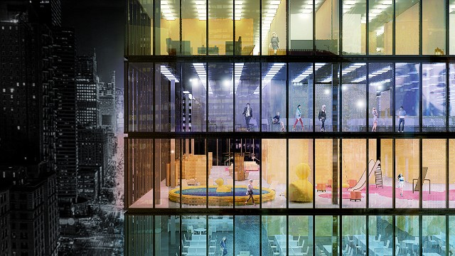 Copenhagen-based architecture firm Pink Cloud is looking into converting empty office space in New York City into pop-up hotels. The entire contents of the hotel could fit in 36 flat pack modules, which could in turn be transported on a single lorry.