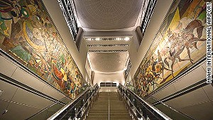 Originally installed in JFK Airport in 1960, the famed Carybe murals (\