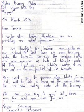 A thank-you letter written to Trent by a child from Matau.