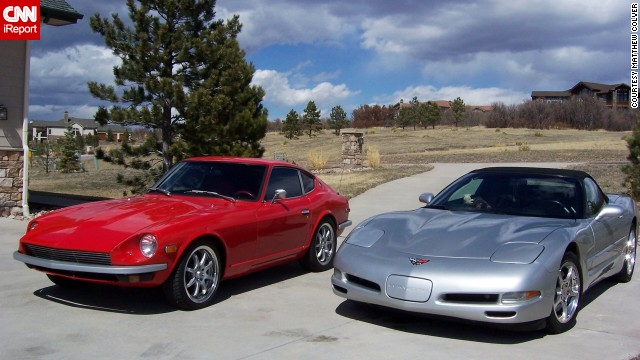 "<a href='http://ireport.cnn.com/docs/DOC-995259'>Matthew Colver</a> and his wife purchased a 2002 Corvette Convertible after their kids moved out of the house. It's shown here sitting next to Colver's 1973 Datsun 240Z. If he could say anything to his Corvette for its 60th anniversary it would be, ""Thanks for the joy you've given us."""