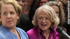 Edie Windsor, right, talks to the press with her attorney Roberta Kaplan after the Supreme Court ruled against DOMA. \n