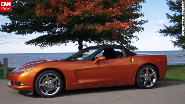 "<a href='http://ireport.cnn.com/docs/DOC-996156'>Andrea Interlicchia </a>drives her 2008 Corvette Convertible in atomic orange with the top down from spring to fall. For the Corvette's 60th anniversary she says, ""Thanks for getting me from point A to point B in style."""