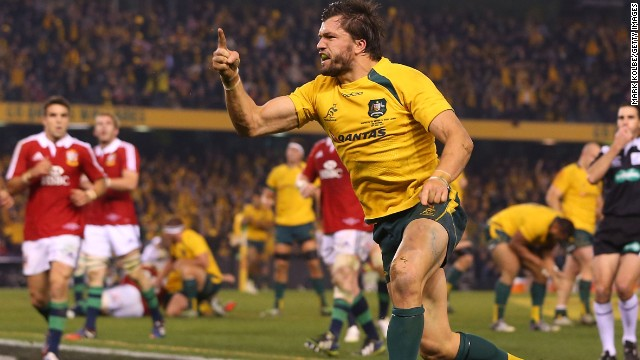 Adam Ashley Cooper celebrates his game winning try for the Wallabies as they beat the British and Irish Lions 16-15.