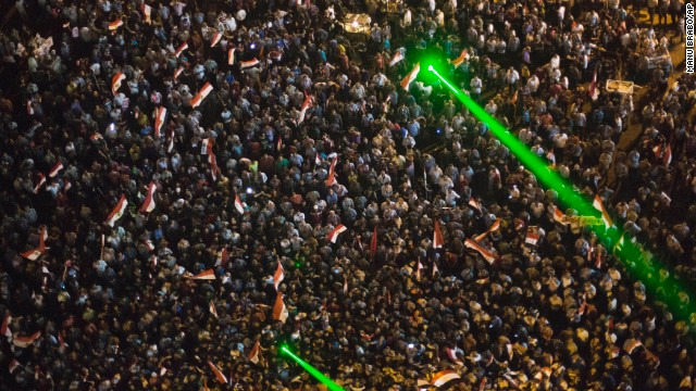 Thousands of Egyptian protesters gather in Tahrir Square on June 30.